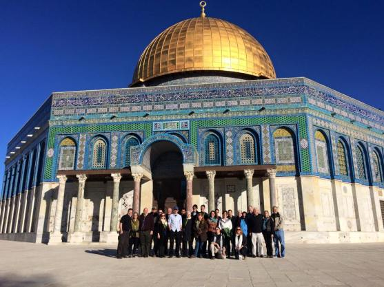 Our Pilgrim group in front of the Dome of the Rock, Temple Mount