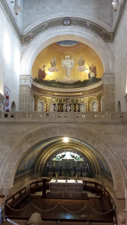 Mosaic of Transfiguration of Jesus above the altar in the Church of the Transfiguration
