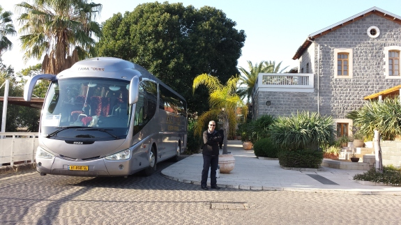 Our Bus, Our Guide (Guston), and the Pilgrim House in Tabgha