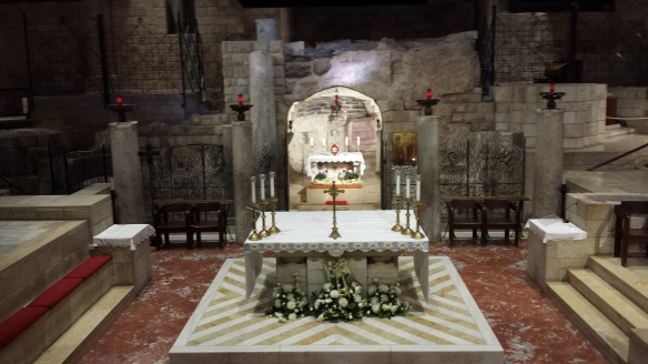 In the Church of the Annunciation, looking into the shrine of the first century home attributed to Mary