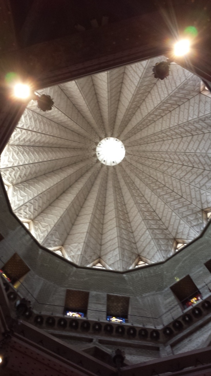 Looking up into the dome of the Church of the Annunciation  It is meant to look like a flower, because the name,