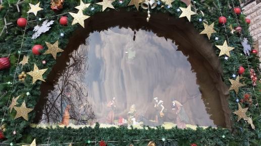 Nativity inset into the Christmas tree