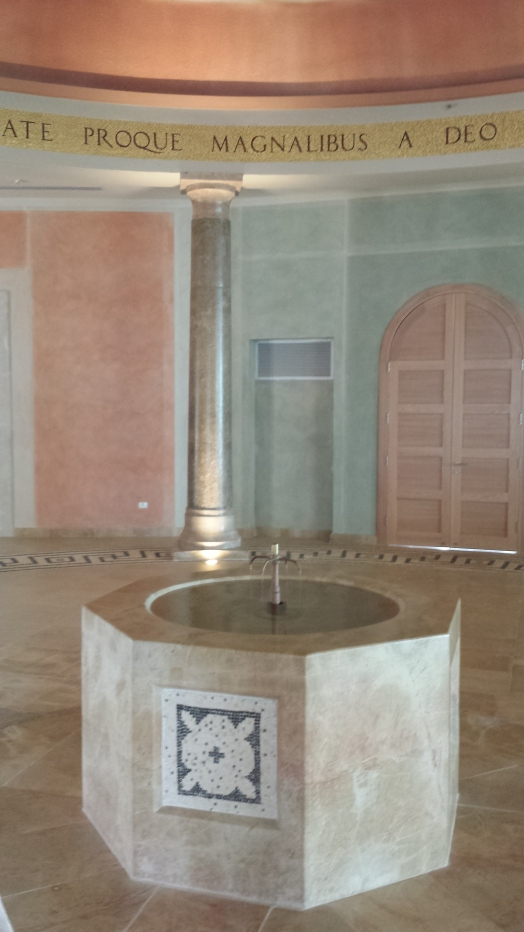 The fountain well and pillar with no name in the Magdala Center