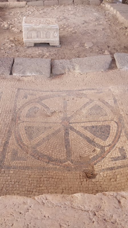 Original mosaic in situ, Synagogue in Magdala