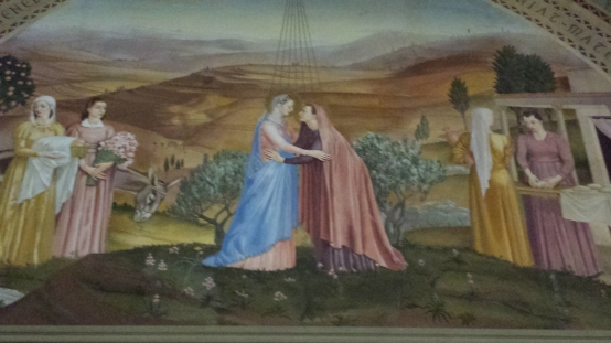 Fresco of the Visitation inside the church