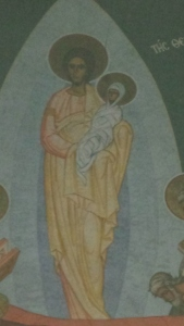 Fresco of Christ holding his Mother Mary - Crypt of the Dormition