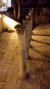 Remains of Roman pillars that once lined the cardo that ran through Jerusalem.