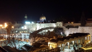 Night view of Western Wall area