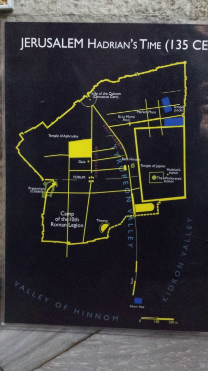 A map showing that at the time of Jesus' crucifixion,  the location was outside the city wall.