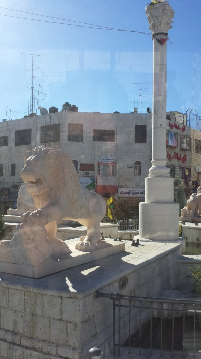 Lion statues in the center of downtown Ramallah