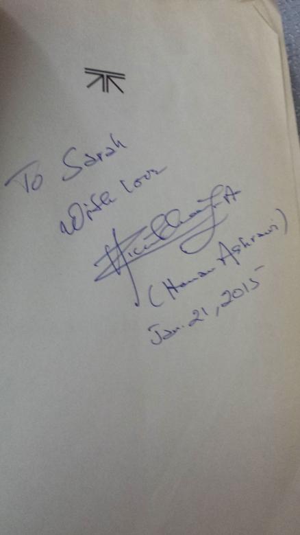 Dr. Ashrawi signed Sarah's book!