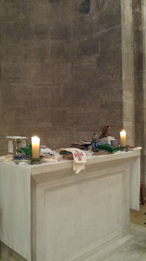 Our Pilgrim items on the altar to be blessed