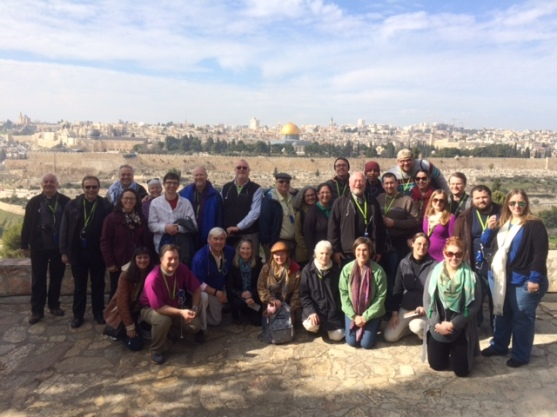 Our Pilgrim group at Dominus Flevit - where Jesus wept and prayed for Jerusalem