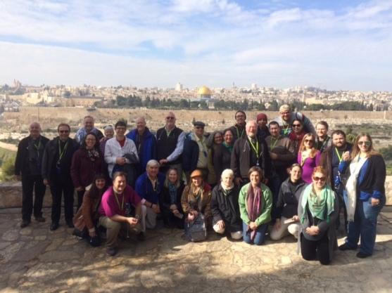 Our Pilgrim group at Dominus Flevit - where Jesus wept and prayed for Jerusalem